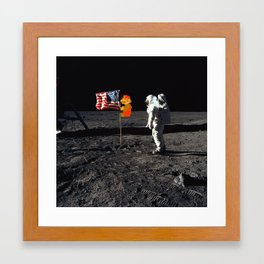 Super Mario on the Moon Framed Art Print