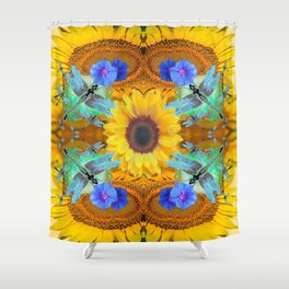YELLOW SUNFLOWERS  DRAGONFLIES FLORAL ABSTRACT Shower Curtain
