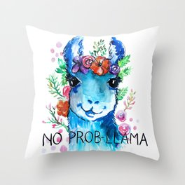 No Prob Llama Throw Pillow