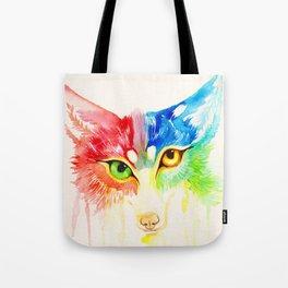 Rainbow Calico Fox  Watercolor Tote Bag