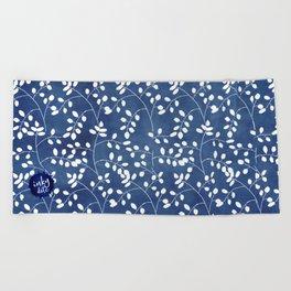 Inky Duvet Cover Leaf Pattern 9 Beach Towel