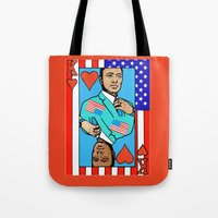house of cards Tote Bags featuring King Kevin of The House of Cards by Kramcox