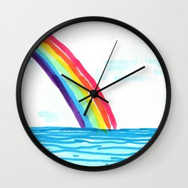 rainbow in the beach Wall Clock