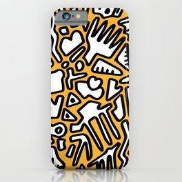 black doodle on orange iPhone Case