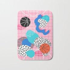 Hot Hand - memphis retro throwback neon grid pattern minimal modern pop art basketball sports Bath Mat