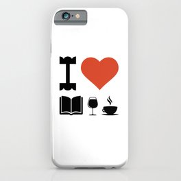 Funny Coffee Books and Wine Lover Novelty print iPhone Case