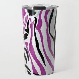 Pink Punk Rock Zebra Travel Mug