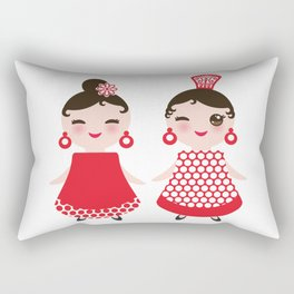 Spanish Woman flamenco dancer. Kawaii cute face with pink cheeks and winking eyes. Gipsy girl Rectangular Pillow