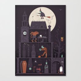 Haunted House at Halloween  Canvas Print