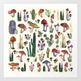 CACTUS AND MUSHROOMS NEW Art Print