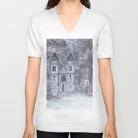 castle V-neck T-shirts featuring Castle by Simone Gatterwe