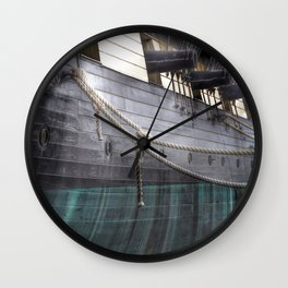 Side Of The Uss Constellation Navy Ship In Baltimore Harbor Wall Clock