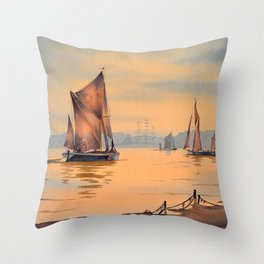 Thames Barges At Greenwich London Throw Pillow