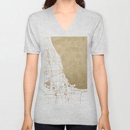 Chicago Gold and White Map Unisex V-Neck