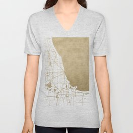 Chicago Gold and White Map Unisex V-Neck