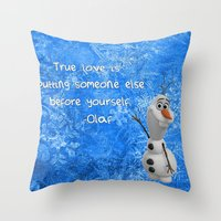 olaf Throw Pillows featuring Olaf by Maggie Jane Photography