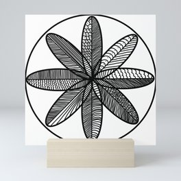 Hand Drawn Feather Mandala Mini Art Print