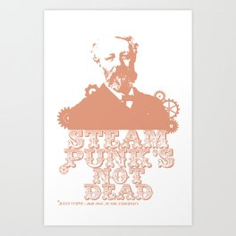 Jules Verne was a punk (red) Art Print