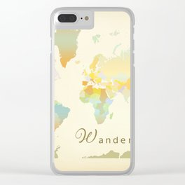 Wanderlust Vintage World Map Art Print Clear iPhone Case