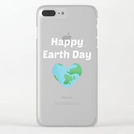 Happy Earth Day Heart Clear iPhone Case