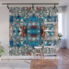 Red White and Blue Mosaic Wall Mural