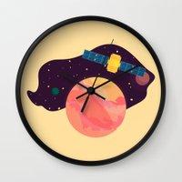katamari Wall Clocks featuring Satellite by badOdds
