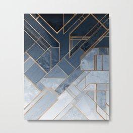 Blue and gold geometric pattern Metal Print