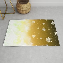 Snowflakes Yellow Rug
