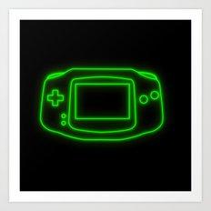 Neon Game Boy Advance Art Print