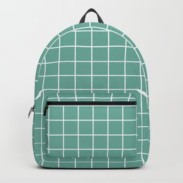 Green Sheen - blue color -  White Lines Grid Pattern Backpack