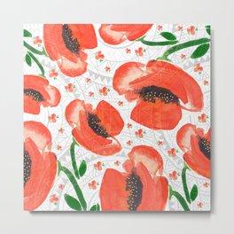 Geometric mandala and flowers Metal Print