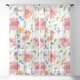 spring watercolor flowers Sheer Curtain