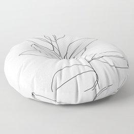 One line plant illustration - Dany Floor Pillow
