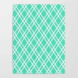 Menthol green and white rhombus lines pattern Poster