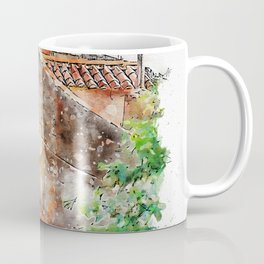 Aquarelle sketch art. Roofs and walls shoot of typical buildings in Dubrovnik, Croatia Coffee Mug