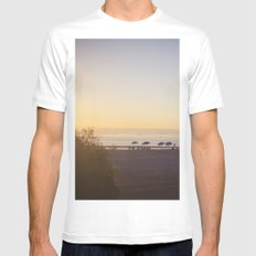 Sunset on the Beach MEDIUM Mens Fitted Tee White
