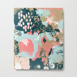 Eisley - Modern fresh abstract painting in bright colors perfect for trendy girls decor college Metal Print