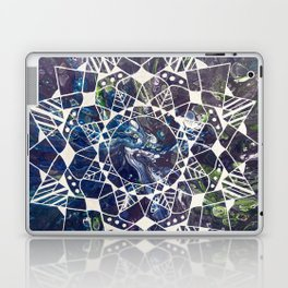 White Mandala on Purple Fluid Acrylic Painting Laptop & iPad Skin