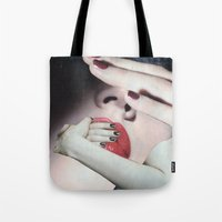 introvert Tote Bags featuring Introvert by Deborah Stevenson Collage Art