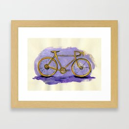 Yellow Bicycle on Purple Framed Art Print