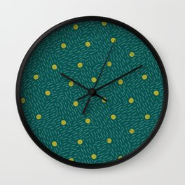Polka dots and dashes // teal and olive Wall Clock