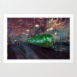 The Essence of Croatia - Zagreb Night Tram Art Print