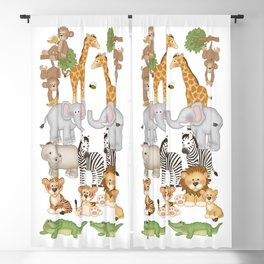 Safari Animals Kids Decor Blackout Curtain