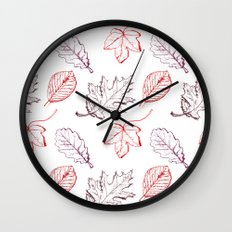 Leaves (reds) Wall Clock
