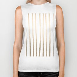 Simply Drawn Vertical Stripes in White Gold Sands Biker Tank
