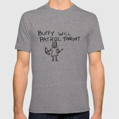 Buffy Will Patrol Tonight X-LARGE Tri-Grey Mens Fitted Tee