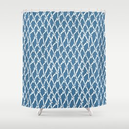 Fishing Net Blue Shower Curtain