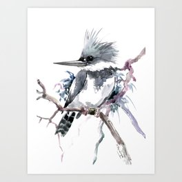 Belted Kingfisher, Gray design, Gray design Art Print