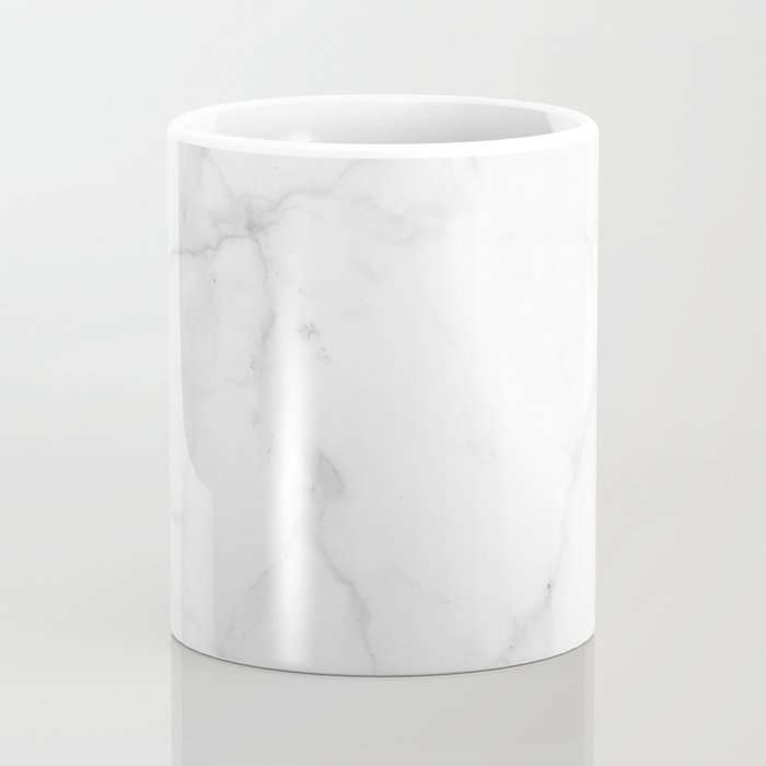 Pure Solid White Marble Stone All Over Coffee Mug