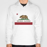 san diego Hoodies featuring California Flag San Diego by NorCal